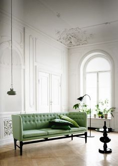 Crown molding, green sofa, arched windows, beautiful home interior design via HEADPEACELOVE Copenhagen Design, Space Copenhagen, Interior Design Blogs, Interior Inspiration, Inspiration Design, Design Interiors, Furniture Inspiration, Elle Decor, Interior Exterior