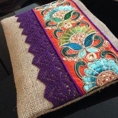 Embrague de flores de yute, bolso de arpillera Natural, étnico bordado y encaje