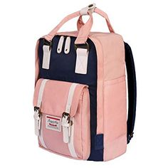 a223a48889 ISIYINER Casual Backpack Durable School Bag Rucksack Waterproof Nylon  Daypack for Shopping Outdoor Travel Hiking for Women Lady Girls Pink