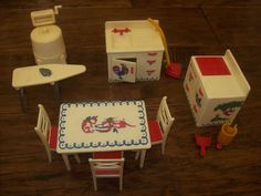 Vintage 50s RENWAL Dollhouse Furniture Red White