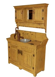 Rustic Country Prim Dry Sink & Cabinet Cupboard Combo from Granny Jane's Wood Shed-Made in the USA Primitive Bathrooms, Primitive Homes, Primitive Kitchen, Country Bathrooms, Primitive Cabinets, Primitive Furniture, Country Furniture, Country Decor, Primitive Decor