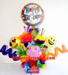 Arreglo de globos cumpleaños morado, Regalo para niño, Regalo de dulces con muchos globos, Arreglo de dulces, Candy gift, Regalo comestible, Arreglo para toda ocasión, Arreglo de cumpleaños, arreglo de globos monterrey, Arreglo de globos Cumpleaños Monterrey, emoticon peluche, Arreglo de Cumpleaños globos emoticon Monterrey