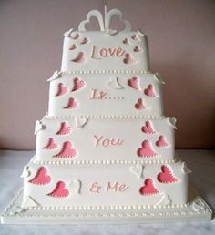 White and Pink Wedding Cake - Love the message on this wedding cake. Cakes by Shelly Wedding Cakes