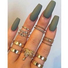 Army Style - Matte khaki square nails go great with gold jewellery...x