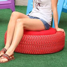 Turn old tires into storage-savvy seating with this clever tutorial! ✨ Link in profile.