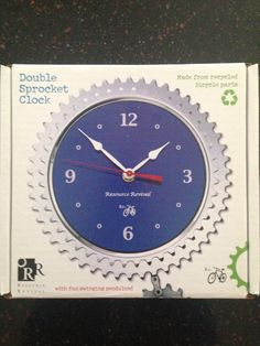 Pendulum wall clock made from upcycled bike parts. Recycled Bike Parts, Bicycle Parts, Diy Recycle, Recycling, Pendulum Wall Clock, How To Make Wall Clock, Boy Room, Things To Buy, Tech Accessories