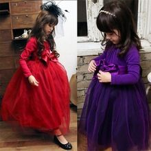 Baby Girl Dress Autumn Winter Children Christmas Clothing Lace Big Bow Long Sleeve Girls Ceremonies Dresses Cotton Girls Clothes(China (Mainland))