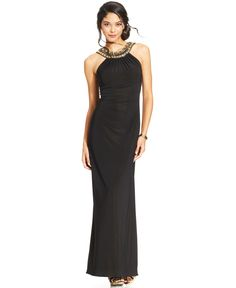 Xscape Embellished Ruched Halter Gown