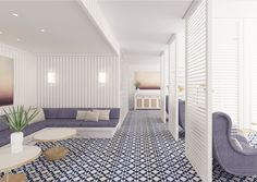 """French architect Joseph Dirand (designer of Givenchy's Paris house) unveils his first U.S. spa—a 15,000-square-foot therapeutic center flooded with sunshine, water vistas, and a color palette of crisp whites and natural blues reflecting """"the light, sand, ocean and sky colors that make Miami so sexy and unique,"""" he says. This palette is harmonious with the cool serenity of heat and treatment areas, and advanced skincare regimens courtesy of private Spa Cabanas with direct beach access."""