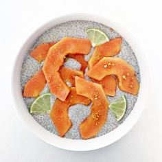 This little treat also helps you stay hydrated from the inside out (ultimately, the best thing you can do for your skin)! serves 2 Ingredients: 2 cups unsweetened almond milk 6 tablespoons chia seeds 4 generous pinches of Moon Juice pearl Raw honey, to taste 1 small papaya, peeled and sliced Squeeze of lemon Bee pollen Method: Combine the almond milk, chia seeds, and honey in a glass container.  Stir well until the chia seeds are mixed in.