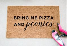 """""""Bring Me Pizza & Peonies"""" Doormat.  Size: 18"""" x 30"""" Material: 100% Coir Other: Handpainted; Permanent Acrylic Paint Care: Clean by shaking out or spot cleaning (not on the design). Keep in sheltered area to prolong life! Processing Time: 2 Weeks + Shipping Times  ________________ INSTAGRAM: @foxandclover  © 2016 Fox and Clover. All Rights Reserved."""