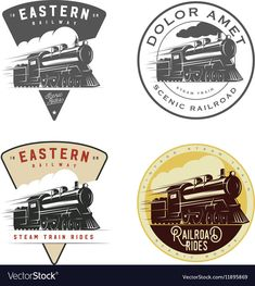 Set of vintage retro railroad steam train logos, emblems, . vector retro train logo on white background locomotive train flat vintage logo vectorSee rich collection of stock images, vectors, or . Cafe Logo, Vintage Design, Retro Vintage, Old Crow Medicine Show, Train Art, Workout Plan For Women, Travel Logo, Train Rides, Vector Free