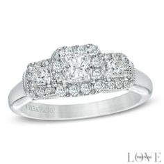 Vera Wang LOVE Collection 3/4 CT. T.W. Princess-Cut Diamond Three Stone Engagement Ring in 14K White Gold
