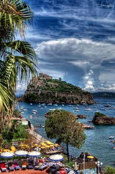 """welcometoitalia: """" Ischia is a volcanic island in the Tyrrhenian Sea at the northern end of the Gulf of Naples, about 30 km from the city of Naples. It has 34 km of coastline and is almost entirely mountainous. The main industry is tourism, centering..."""