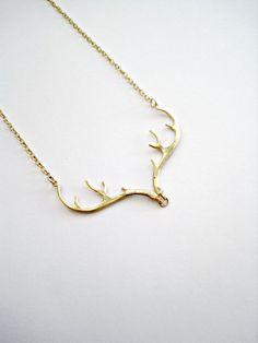 PRE ORDER Gold Antler Necklace Deer Antler by vintagestampjewels