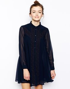 ASOS Swing Dress With Broderie Inserts