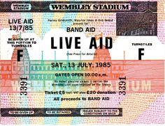Live Aid Concert 1985 Music Tickets, Concert Tickets, Freddie Mercury, Queen Tickets, Childrens Halloween Party, Bob Geldof, Hippie Music, Live Aid, Vintage Concert Posters