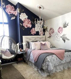 Teen girl bedrooms, check out this info for a surprising magnificent teen girl room project, make-over number 9832213694 Bedroom Decor For Teen Girls, Cute Bedroom Ideas, Girl Bedroom Designs, Room Ideas Bedroom, Home Decor Bedroom, Trendy Bedroom, Girls Bedroom Blue, Dark Blue Bedrooms, Girl Bedrooms