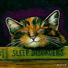 """calico cat sleeping on a book entitled """"sleep disorders"""" Crazy Cat Lady, Crazy Cats, Sleep Apnea In Children, Gatos Cats, Cat Drawing, Illustrations, Cat Art, Cats And Kittens, Cute Cats"""