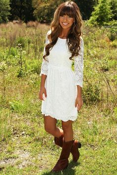 One Sweet Lace Dress: White - Dresses - Hope's Boutique from Hope's. Saved to things I need. One Sweet Lace Dress: White - Dresses - Hope's Boutique from Hope's. Saved to things I need. Western Lace Dresses, Dresses With Cowboy Boots, White Country Dress, White Dress, White Lace Dress Short, Country Girls Outfits, Country Dresses, Simple Country Wedding Dresses, Confirmation Dresses White