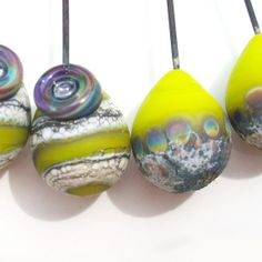 Electric Lime Stone Rainbows and Threads Handmade by Genea on Etsy