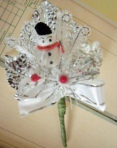 Vintage / Christmas Corsage / Spun Cotton Snowman / Bump Chenille Stems / German Glass Glitter / Handmade / Decoration / Frame-able