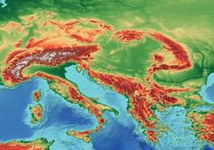 A topographic map of Southeastern Europe