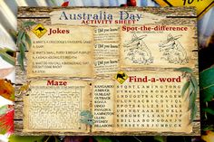 Australia Day Activity Sheet Free Printable from SassabyParties.com Activity Sheets For Kids, Activities For Kids, Australian Party, Australia Day, Business For Kids, Scouts, Renaissance, Free Printables, Parties