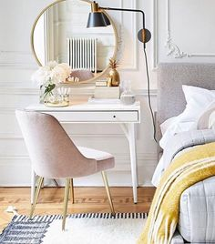 Home Office Inspiration from West Elm. I'm loving this pink chair with gold legs and the matching gold framed mirror. Such a great way to use the space you have in adding a small home office or vanity to a bedroom (affiliate) Home Office Design, Home Office Decor, Home Decor Bedroom, Bedroom Furniture, Bedroom Ideas, White Desk Bedroom, Bedroom Designs, Office Ideas, Furniture Ideas