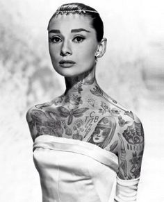 Tattoo Icons - what would Audrey Hepburn and other famous people look like with lots of tattoos?