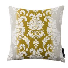 Camelia Damask Chartreuse Square Cushion