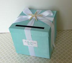 Wedding Card Box Tiffany Blue Beach Theme Starfish Money Holder Customizable Show in Tiffany Blue. $69.00, via Etsy.