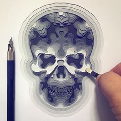 Owl paper cut #papercut #craft #paper #skull