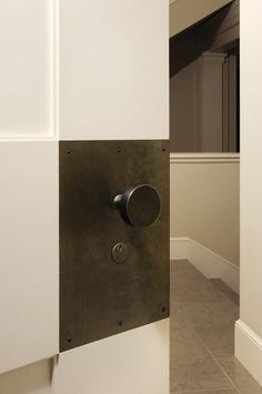 Sun Valley Bronze custom hardware | door plate - replace knob with lever handle.