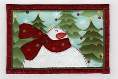 Snowman Fabric Postcard | Flickr: Intercambio de fotos