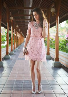 #SALE Pink Short Sleeve Embroidered Lace Slim Dress Shop the #SALE at #Sheinside