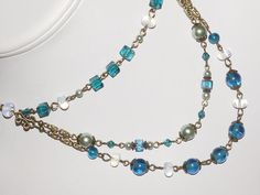 Beaded Jewelry - Victorian Jewelry - Triple Strand Necklace - Teal and opalite   #Handmade #Statement