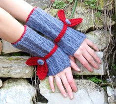 Knitted fingerless Gloves with knit leaf Mittens by EmofoFashion, $29.00