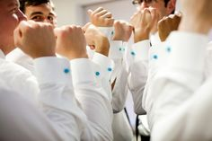 11i indian wedding groomsmen matching blue cufflinks. More here: http://www.indianweddingsite.com/multicultural-fusion-wedding-kellie-sanders-photography/