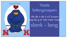 Hulpkaartje  vaste lettergroepen NK Als de n de k wil kussen  mag de g er niet meer tussen.