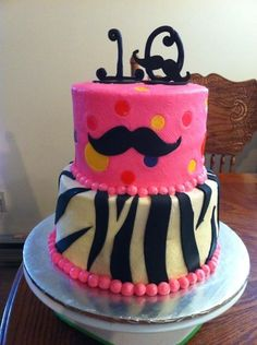 Mustache Cake - with Blue for Brooklyn