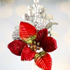 Artificial Poinsettia and Berry Pick