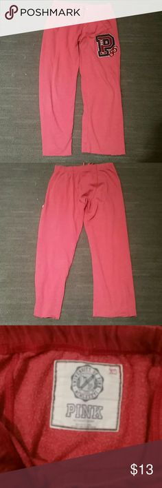 Pink boyfriend sweatpants Pink bf sweatpants in excellent condition.  The bottoms were cut just a little but it doesn't show at all  very comfy. PINK Victoria's Secret Pants