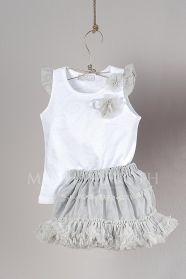 Μένη Ρογκότη - Βαπτιστικά ρούχα για κορίτσι της Angel Wings σετ μπλούζα μακό και τούλινη φούστα