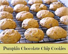 Pumpkin Chocolate Chip Cookies recipe at www.spindlesdesigns.com #pumpkinchocolatechipcookies #desserts