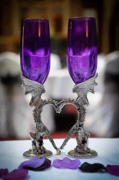 Gothic purple glass and pewter dragon goblets for a gothic wedding The Purple, All Things Purple, Purple Rain, Shades Of Purple, Purple Glass, Purple City, Purple Colors, Our Wedding, Dream Wedding