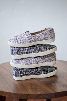 The TOMS Avalon brings comfort and stability to a cute black and white boucle slip-on shoe.