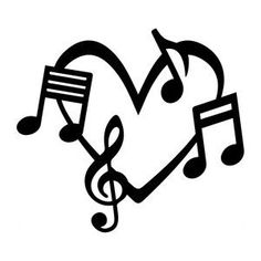 Music Notes Heart Love Vinyl Car Decal Bumper Window Sticker Any Color Multiple Sizes Jenuine Crafts - Vinyl Decals for Sale Window Stickers, Bumper Stickers, Tatouage Rock And Roll, Music Note Heart, Music Symbols, Music Drawings, Note Tattoo, Music Tattoos, Silhouette Design