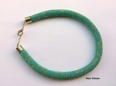 Bead Crochet Necklace  Turquoise Beaded Necklace  by alevduzen