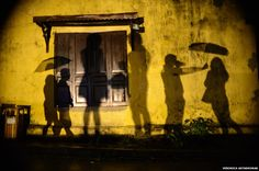 Shadows on a wall in Vietnam